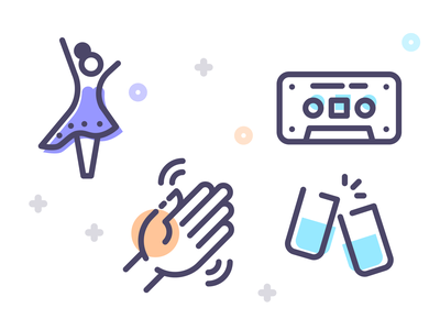 Freebie 90's Party Icons music party dancer cassette tape hand drink flat line illustration art icon