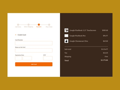 Daily UI : Day 2 - Credit Card Checkout - Second Screen