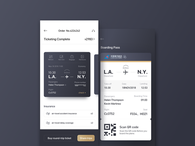 Boarding Pass ticket airplanes icon app design ui