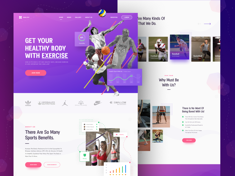 HEALTHY - Website Exploration tracking gym dashboard course exercise health ai sport chart illustration landing page homepage website ui