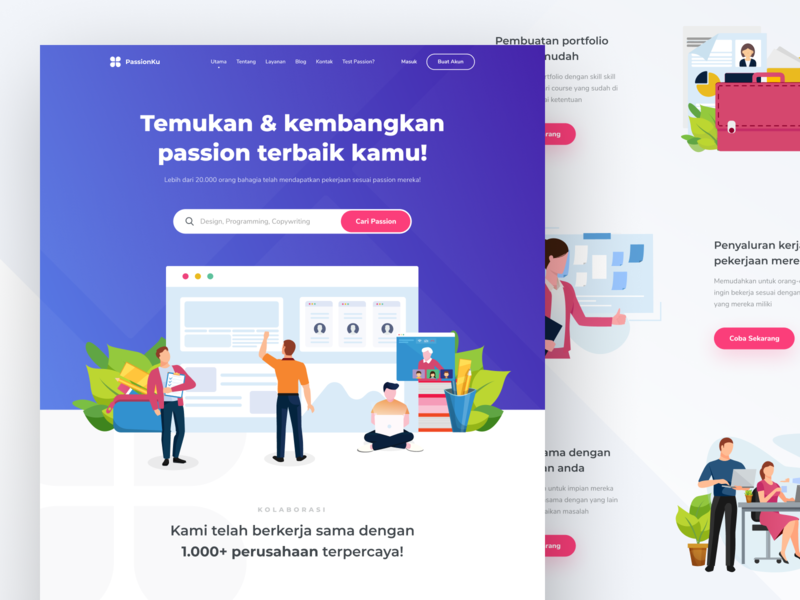 PassionKu - Case Study Design purple casestudy logo landing page design service landingpage internet illustration clean ui website homepage dashboard course chart ai