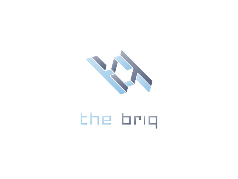 'the briq' logo symmetry mc escher coworking office space tech office logo