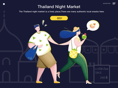 Couple shopping thailand couple illustration