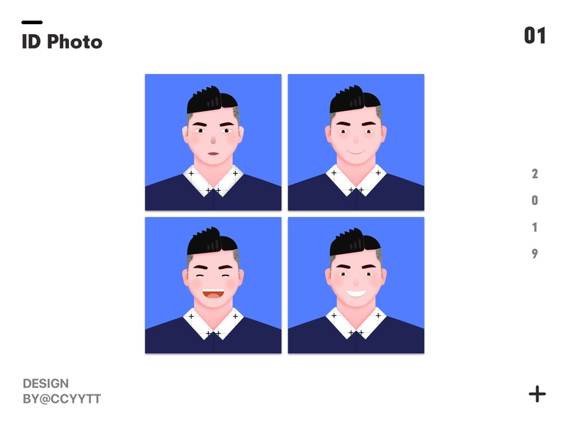 Id photo portrait ui illustration
