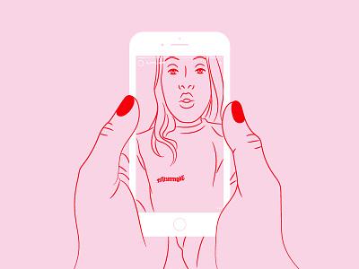 #Obsessed mobile phone iphone obsession social media instagram stories stories instagram pink illustration