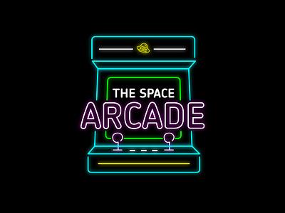 The Space Arcade branding vector illustrator typography daily logo challenge dailylogochallenge logo logo concept logo design graphic design