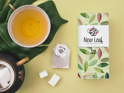 New Leaf - Tea packaging tea packaging illustration typography logo illustrator logo concept logo design graphic design