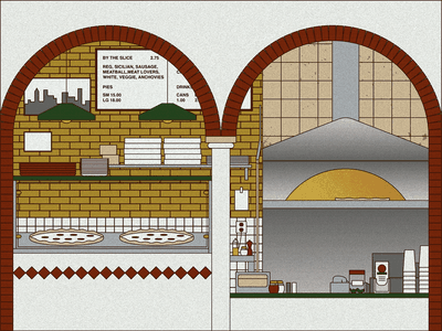 Pizza shop outline takeout new york oven brick texture shop pizza illustration
