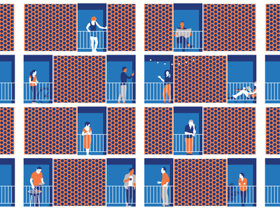 Apartment Life 2020 isolation newspaper book grill beer tea coffee people balcony apartment social-distancing quarantine self vector illustration