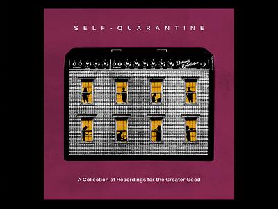 Self-Quarantine Album window trumpet bass piano drums amplifier guitar typography music retro tape cassette record cover design cover art album art album texture halftone illustration