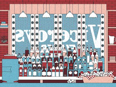 Basement bar outline digital popcorn beer bar texture vector illustration