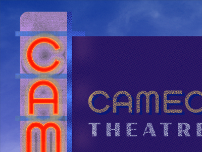 Cameo Theatre Detail texture glow sky lettering sign neon signage illustration theatre cameo