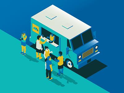 Food Truck people taco truck food truck isometric illustration vector halftone illustration