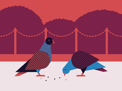 Pigeons in the park illustrator geometic park birds pigeons vector illustration