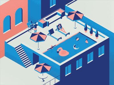 Rooftop Pool summer float flamingo ball beach umbrella pool building rooftop texture vector illustration isometric