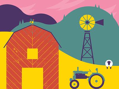 Mountain Farm geometric rooster sheep tractor windmills mountains barn texture vector illustrator illustration