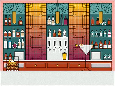 Cocktail bar bar beer martini whisky old fashioned cocktail art deco outline texture halftone vector illustrator illustration