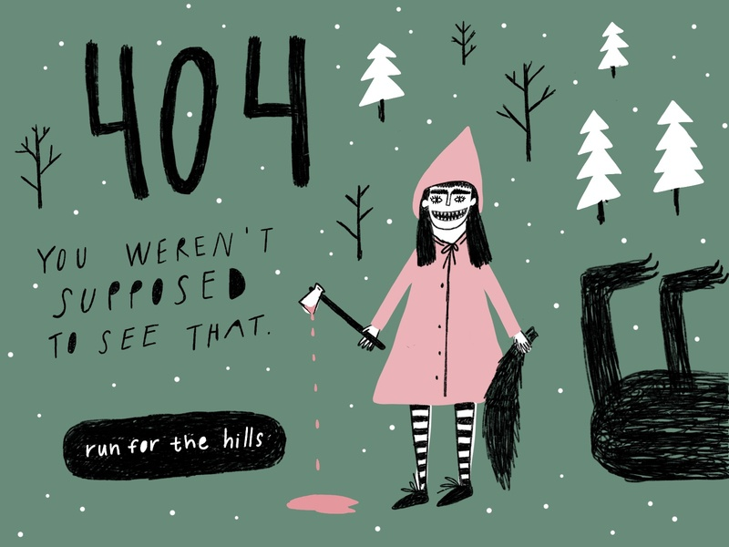 You weren't supposed to see that. girl weekly warm-up woods forest wolf little red riding hood red hat horor creepy art horror art creepy hand drawn doodle people illustration