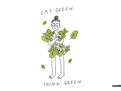 Think green vegetarian veggies vegan go green eco poster lettering t-shirt girl people doodle illustration hand drawn