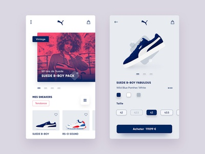 Sneakers shop app duotone add to basket design ux ui suede classics b-boy shop sneakers app