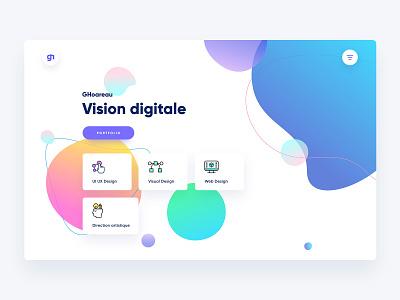 Personal portfolio layout homepage page shapes gradients colors webdesign web vibrant colors ui redesign portfolio vector illustration design