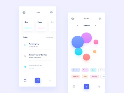 Free time app product time chart minimal user track tasks graph list management vibrant colors clean rest hobbies app to do design ux ui free time