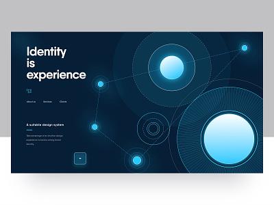 Digital agency landing web design portfolio circle shapes blue vector identity ux ui dark creative webdesign design system digital agency layout home homepage