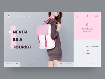 Bagpack brand brand design branding layout clean product page website web interface grey ux ui fashion pink web design webdesign minimal