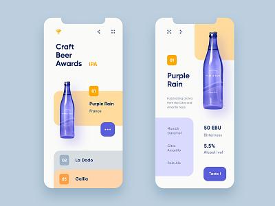 Craft Beer Awards landing awards purple clean product beer app ux ui