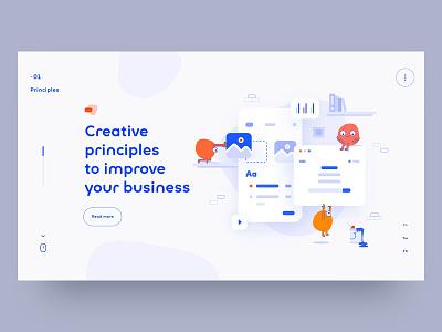 Creative services landing uidesign creative page agency blue orange interface site website web layout illustration webdesign design ux ui