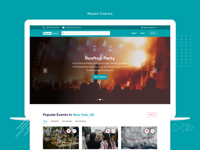Maven Events - Events Ticket Booking branding idea color palettes typography web design ux design ui design online booking trending design inspiration design landing page design ticket booking event booking