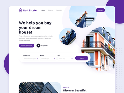 Real Estate - Landing Page Concept inspiration creative branding trending real estate branding webdesign design concept visual design uidesign uiux homepage find house dream house property realestate design inspiration landing page