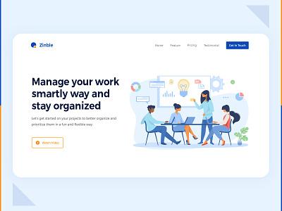 Landing Page | Task Management Tool web design design branding ui idea trending inspiration ui design website design management task management home page design landing page