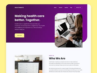 HealthMate - Landing Page branding ui ux web design ui design ui idea trending inspiration creative health care medical landing page design