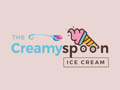 The Creamy Spoon - Logo Design creative agency idea inspiration logo 2019 creamy spoon icecream branding brand identity brand logo design trends2019 creative design