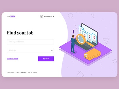 Job Finder - Job Search Engine inspiration idea web design ui designs freepik ux design ui design creative jobfinder search job search engine landing page jobportal