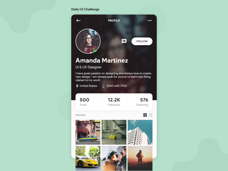 Daily UI Challenge - User Profile user profile inspiration mobile app dailyuichallenge uiux ui creative uidesign appdesign dailyui