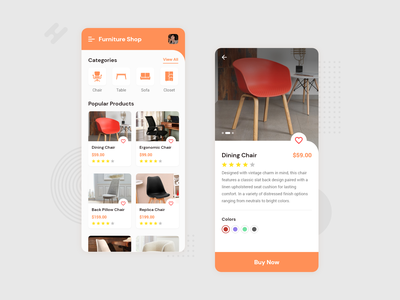 Furniture Shopping App ui trending creative inspiration uxdesign uidesign mobileappdesign product detail categories add to cart chair buy shopping app shopping furniture ios android mobileapp