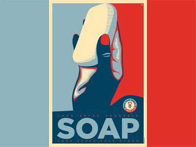 SOAP uk design illustration illustrator doctors isolation quarantine wash your hands shepard fairey soap