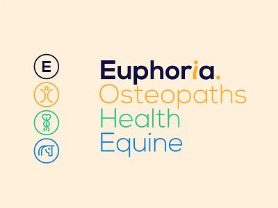 Euphoria Osteopaths Logos logo typography design branding
