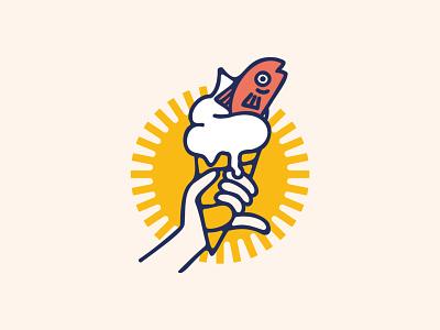 Just a fish in an ice-cream ice-cream fish vector typography logo design branding line art illustration illustrator