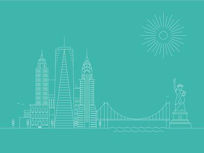NYC architecture design icon vector ui logo line art illustration illustrator