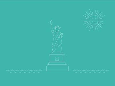 Statue of Liberty nyc statue of liberty architecture branding design line art illustrator illustration