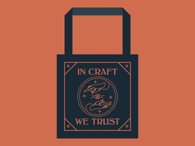 Craft Cult bags occult eye star needle hands vector logo tote bags craft cult line art design illustration illustrator tote bag