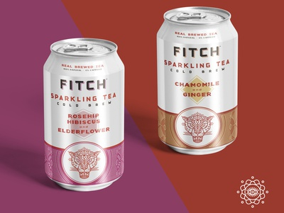Fitch Brew Co. sparkling tea can design fitch illustration typography branding illustrator line art sparkling ginger chamomile teaindreamland can design packaging design packaging fitch brew co coffee tea can