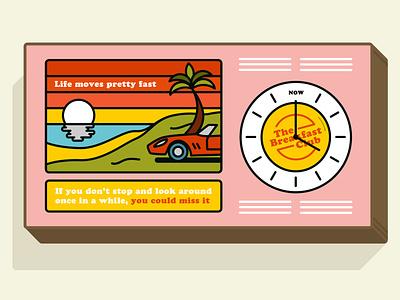 Lightbox clock design for The Breakfast Club, London wall art ferris bueller interior design lightbox breakfast club design typography illustrator line art illustration