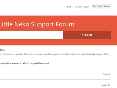 Little Neko Support forum refresh - bbpress theme