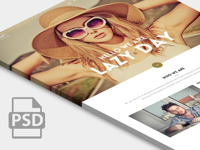 Lazy Day - free One page Website design freebie psd template little neko
