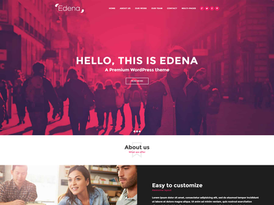 Edena One Page Demo one-pager pink duotone little neko theme web design wordpress one page