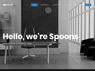 Spoons WordPress Blue envato themeforest little neko web design business theme ux ui wordpress